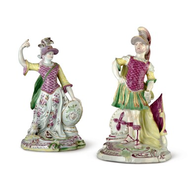 View 1. Thumbnail of Lot 572. AN ASSEMBLED PAIR OF DERBY LARGE FIGURES OF MARS AND MINERVA, CIRCA 1758-60.