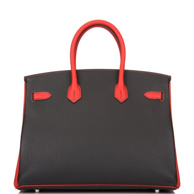 View 5. Thumbnail of Lot 43. HERMÈS   HORSESHOE STAMPED (HSS) BICOLOR BLACK AND VERMILLION BIRKIN 35CM OF TOGO LEATHER WITH BRUSHED PALLADIUM HARDWARE.