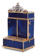 A 'HISTORISMUS' HARDSTONE MUSICAL BOX WITH TIMEPIECE, JEWELLED GOLD, SILVER AND ENAMEL MOUNTS, LATE 19TH CENTURY
