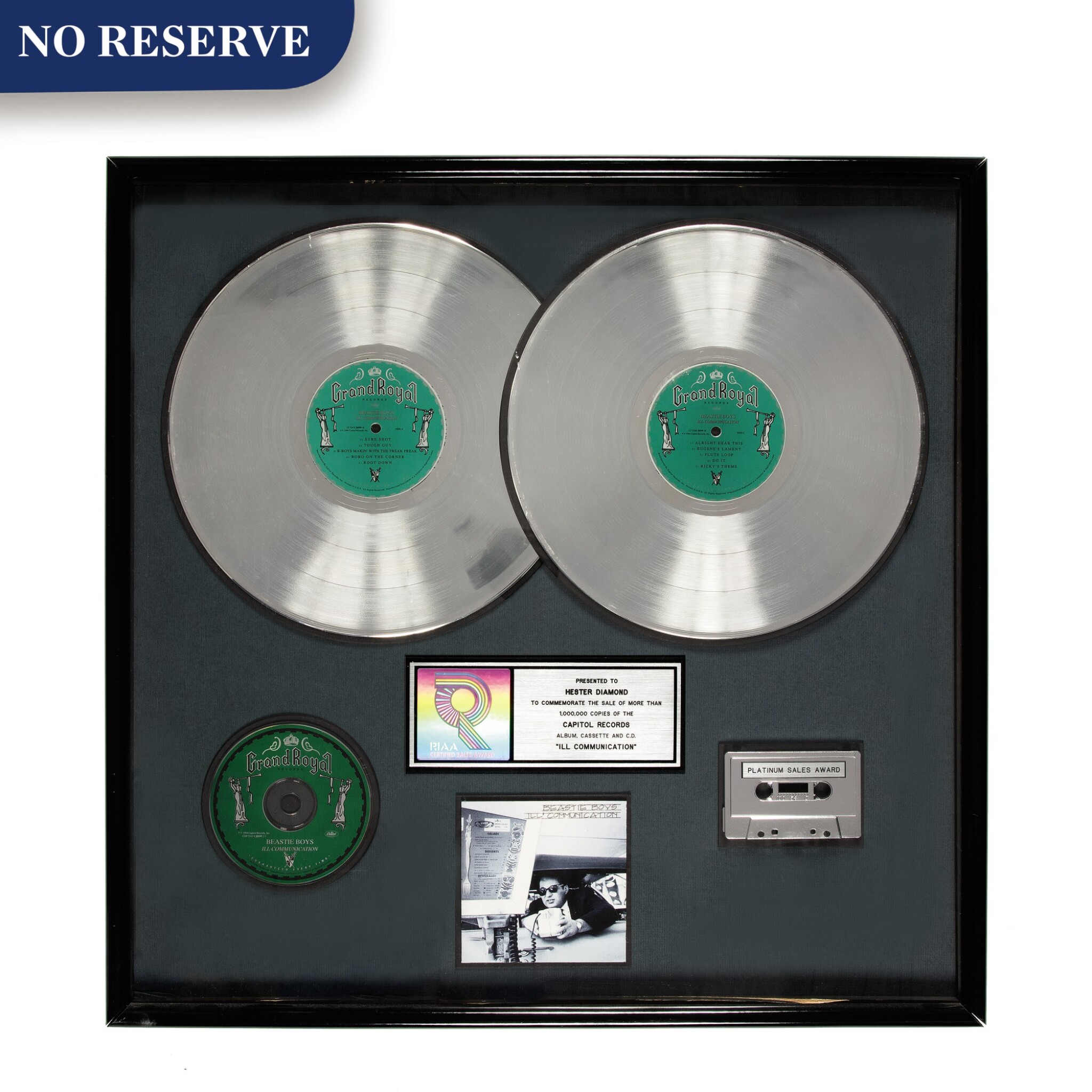 """View full screen - View 1 of Lot 307. RIAA Platinum sales award presented to Hester Diamond for the Beastie Boys 1994 Grand Royal Records album """"Ill Communication""""."""