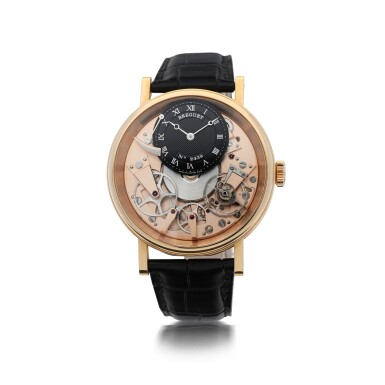 BREGUET     REFERENCE 7058 LA TRADITION  A PINK GOLD SEMI-SKELETONIZED WRISTWATCH WITH POWER RESERVE, CIRCA 2005