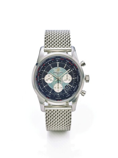 Lot 134 BREITLING | TRANSOCEAN CHRONOGRAPH UNITIME REF AB0510U4/BB62, A STAINLESS STEEL AUTOMATIC WORLD TIME CHRONOGRAPH WRISTWATCH WITH DATE AND BRACELET CIRCA 2018