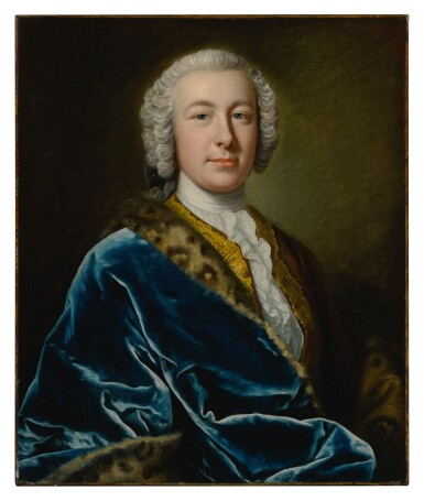 View 2. Thumbnail of Lot 64. Portrait of James FitzGerald, Earl of Offaly, Marquess of Kildare, and 1st Duke of Leinster (1722 - 1773), in a blue robe with fur trim, half-length.