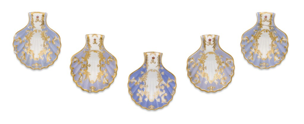 FIVE PORCELAIN SPOON RESTS FROM THE FARM PALACE BANQUET SERVICE, IMPERIAL PORCELAIN FACTORY, ST PETERSBURG, PERIOD OF ALEXANDER III (1881-1894), 1885-1891