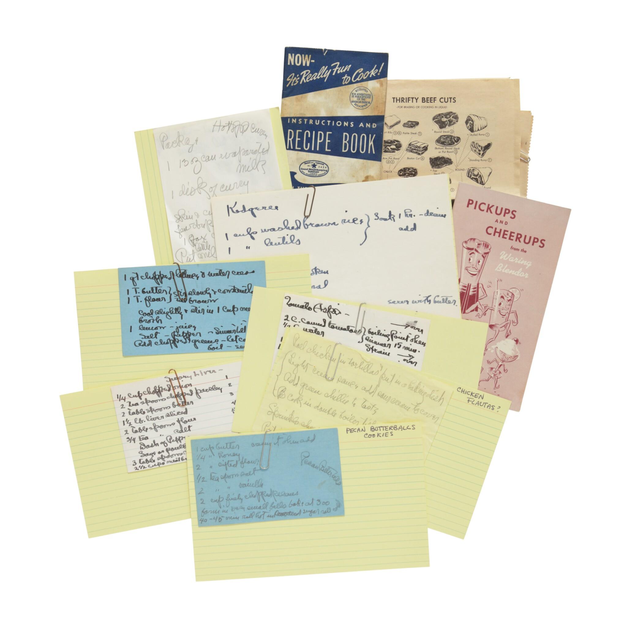 View full screen - View 1 of Lot 57. GEORGIA O'KEEFFE | THE ARTIST'S RECIPE CARD FILE. CIRCA 1950S–1970S.