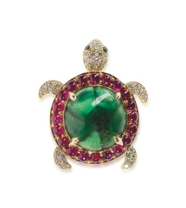 View 1. Thumbnail of Lot 33. EMERALD, RUBY AND DIAMOND BROOCH, MICHELE DELLA VALLE.