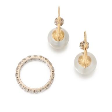 View 3. Thumbnail of Lot 90. PAIR OF CULTURED PEARL AND DIAMOND EARRINGS AND DIAMOND ETERNITY RING   (PAIO DI ORECCHINI CON PERLE COLTIVATE E DIAMANTI E RIVIERA IN DIAMANTI).
