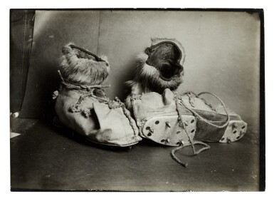 View 1. Thumbnail of Lot 189. Herbert Ponting   Three original photographs of ski shoes, published in 'Scott's Last Expedition', 1913.