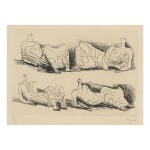 HENRY MOORE | FOUR DRAPED RECLINING FIGURES (CRAMER 90)