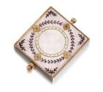 A Fabergé silver-gilt, gold and guilloché enamel eraser holder, Moscow, circa 1890