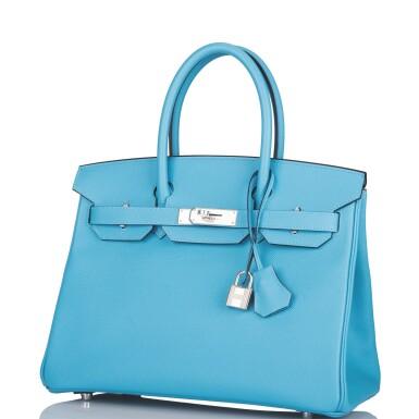 View 5. Thumbnail of Lot 63. Hermès Bleu Du Nord Birkin 30cm of Epsom Leather with Palladium Hardware.