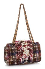 MULTICOLOR TWEED, SEQUIN AND LEATHER WITH DARK SILVER-TONE METAL CLASSIC SHOULDER BAG, CHANEL