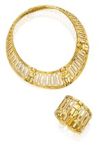 CARTIER | GOLD AND DIAMOND 'SCARAB' NECKLACE AND CUFF-BRACELET