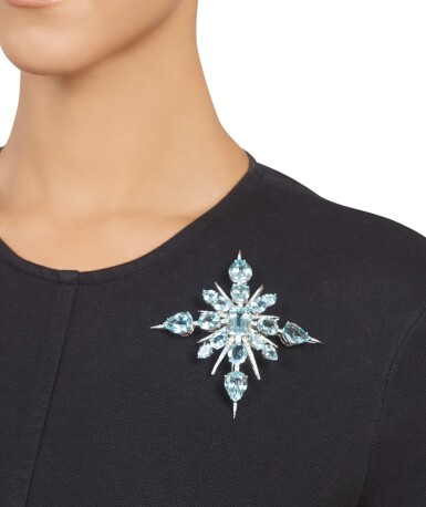 View 3. Thumbnail of Lot 339. Tony Duquette | Aquamarine and Diamond 'Star' Brooch.