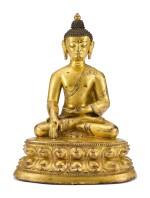 A GILT-BRONZE FIGURE OF SHAKYAMUNI BUDDHA, TIBET, 16TH CENTURY    十六世紀 藏傳鎏金銅釋迦牟尼佛坐像