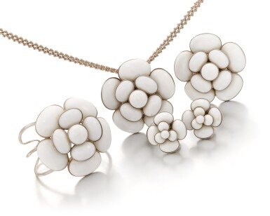 View 2. Thumbnail of Lot 143. Collection of white Camellia jewelry.