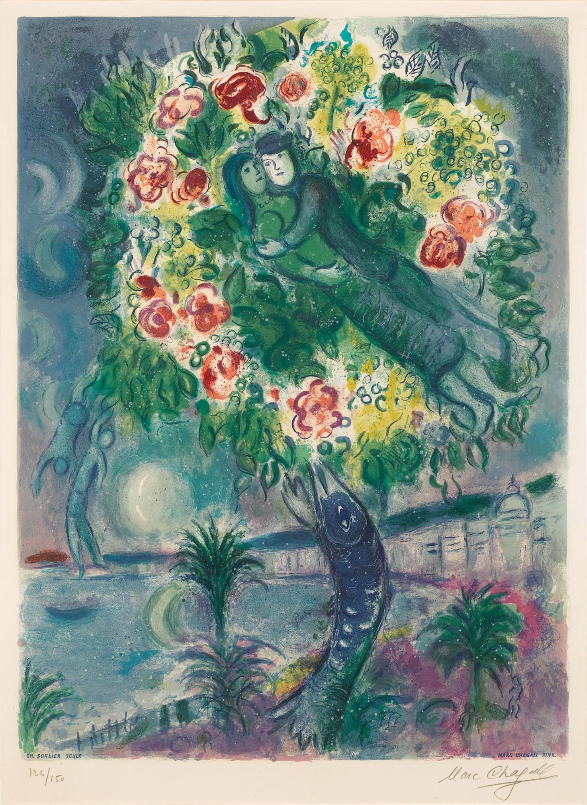 View full screen - View 1 of Lot 17. AFTER MARC CHAGALL   COUPLE ET POISSON (M. CS. 34).