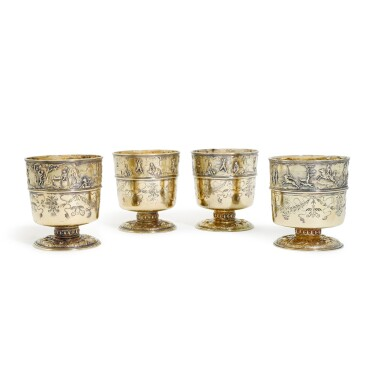 View 1. Thumbnail of Lot 9. A set of four George IV silver-gilt 'Munzbecher's', John Bridge for Rundell, Bridge & Rundell, London, 1827.