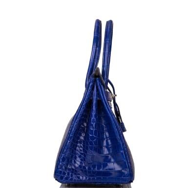View 3. Thumbnail of Lot 7. Hermès Bleu Electrique Birkin 30cm of Shiny Porosus Crocodile with Palladium Hardware.