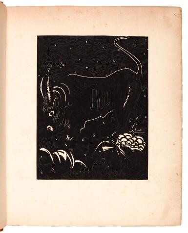 View 2. Thumbnail of Lot 101. Schmied and Kipling. Kim. 1930. 2 volumes. 4to. modern tan morocco.