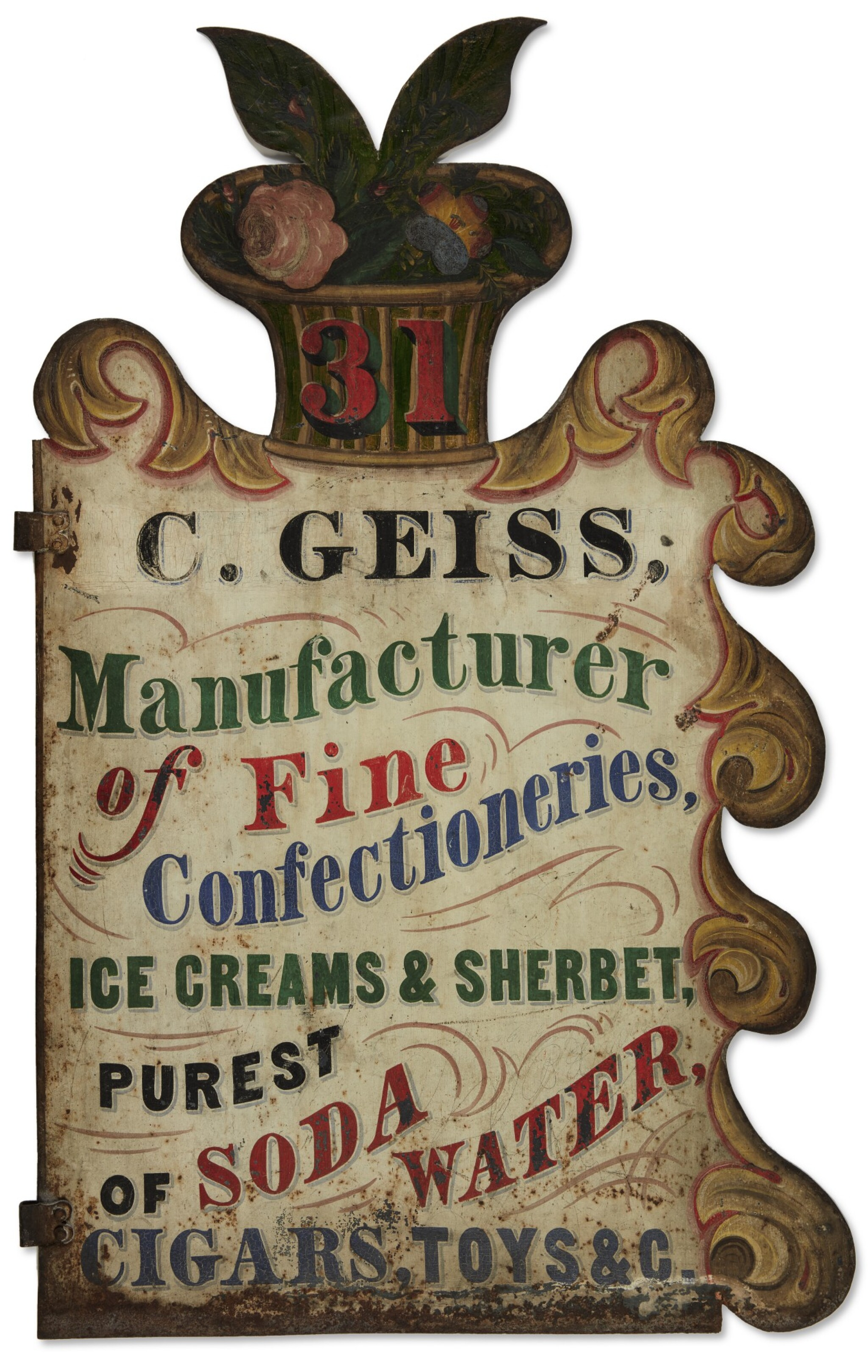 View full screen - View 1 of Lot 1482. POLYCHROME PAINT-DECORATED SHEET-IRON MANUFACTURER'S TRADE SIGN, C. GEISS, POSSIBLY OHIO, 19TH CENTURY.