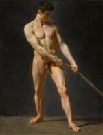 A standing male nude, pulling a rope