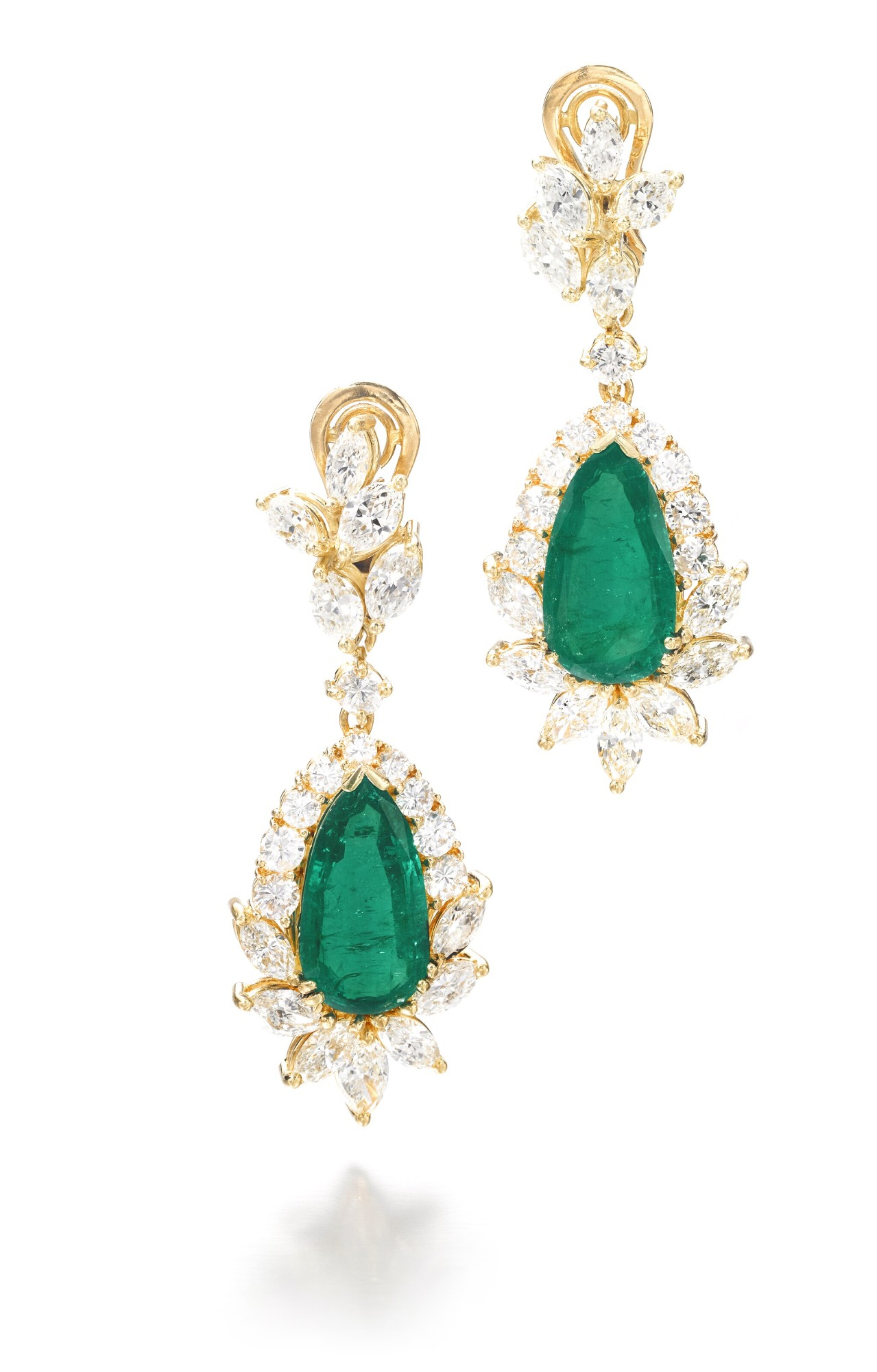 View full screen - View 1 of Lot 703. Pair of emerald and diamond pendent earrings | 祖母綠配鑽石耳墜一對.