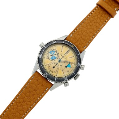 View 7. Thumbnail of Lot 13. Reference 2446 Seafarer 'Screw-back Case'  Retailed by Abercrombie & Fitch: A stainless steel chronograph wristwatch with tide indication, Circa 1963.