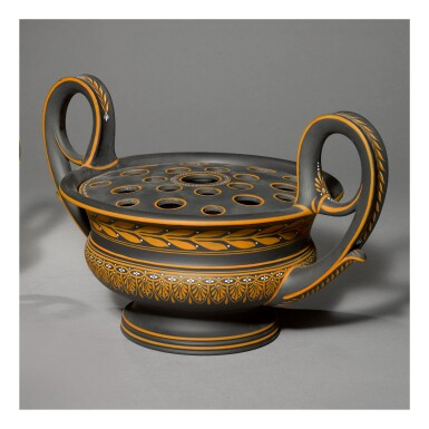 A WEDGWOOD BLACK BASALT ENCAUSTIC-DECORATED KRATER VASE AND PIERCED COVER LATE 18TH CENTURY