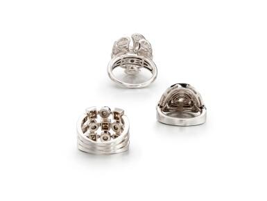 View 3. Thumbnail of Lot 1783. Three Gold and Diamond Rings | 寶格麗 | K金 配 鑽石 戒指三枚.