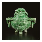 AN APPLE-GREEN JADEITE TRIPOD CENSER AND COVER, QING DYNASTY, LATE 19TH / EARLY 20TH CENTURY