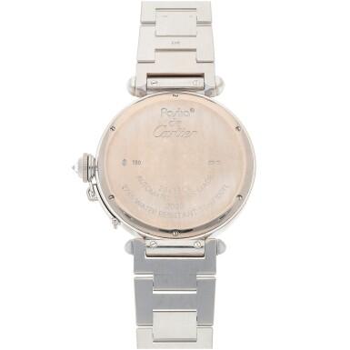 View 4. Thumbnail of Lot 470. Pasha, Ref. 2765 White gold and diamond-set wristwatch with bracelet Circa 2005   卡地亞 2765型號「Pasha」白金鑲鑽石鍊帶腕錶,年份約2005.