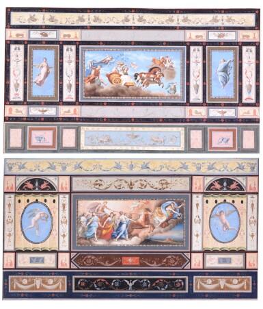 TOMASSO BIGATTI | CEILING FRESCOES DEPICTING AURORA AND APOLLO, CIRCA 1800, AFTER GUIDO RENI (1575-1642)