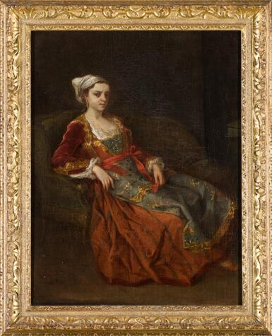 View 2. Thumbnail of Lot 65. ATTRIBUTED TO ANTOINE DE FAVRAY | Portrait of a lady in Turkish dress seated in an armchair.