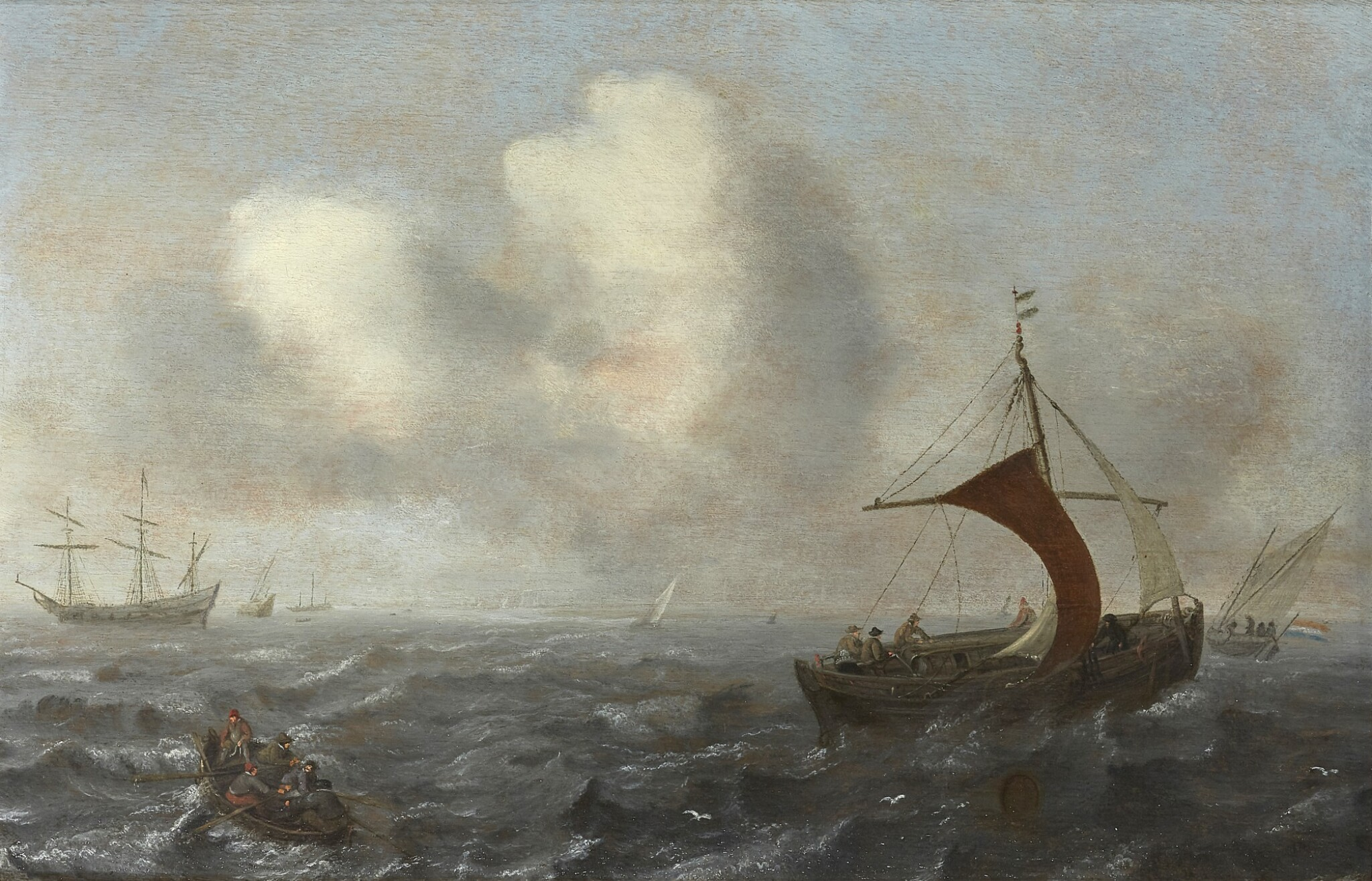 View full screen - View 1 of Lot 238. CIRCLE OF JAN PORCELLIS | FISHING VESSELS IN CHOPPY WATERS.