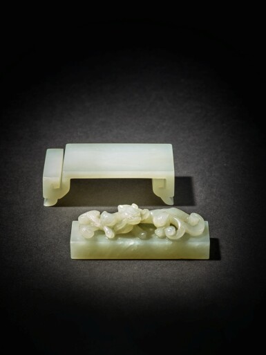 View 6. Thumbnail of Lot 91. Two pale celadon jade scholar's articles, Qing dynasty, 19th century.