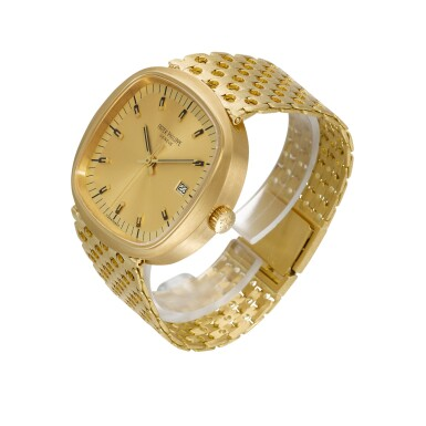 View 2. Thumbnail of Lot 1201. PATEK PHILIPPE | BETA 21, REF 3597/2, LARGE YELLOW GOLD CUSHION-FORM BRACELET WATCH WITH DATE MADE IN 1974.