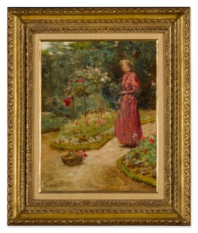 View 2. Thumbnail of Lot 31. Woman Cutting Roses in a Garden.