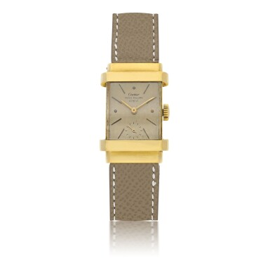 View 1. Thumbnail of Lot 112. PATEK PHILIPPE | REF 1450 'TOP HAT', RETAILED BY CARTIER: A YELLOW GOLD RECTANGULAR WRISTWATCH CIRCA 1950.