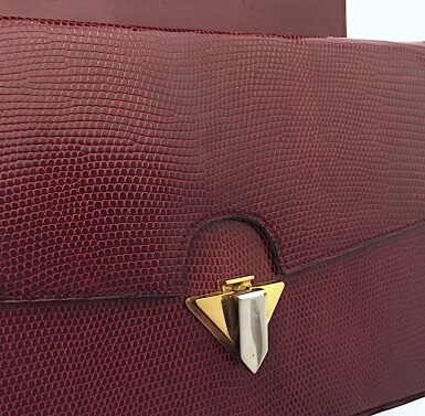 View 12. Thumbnail of Lot 725. GUCCI   BURGUNDY VINTAGE BAG IN LIZARD, c.1960s.