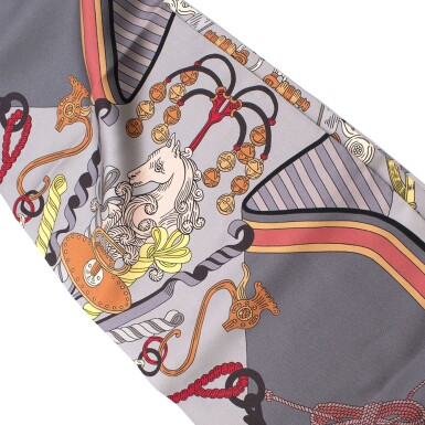 View 5. Thumbnail of Lot 188. HERMÈS | SILK MAXI TWILLY CUT IN GRIS, ORANGE AND VERT D'EAU BOUQUETS SELLIER PRINT. DESIGNED BY PIERRE MARIE, 2014.