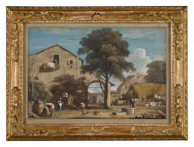 View 2. Thumbnail of Lot 24. MARCO RICCI | LANDSCAPE WITH A COURTYARD WITH RURAL BUILDINGS AND PEASANTS.