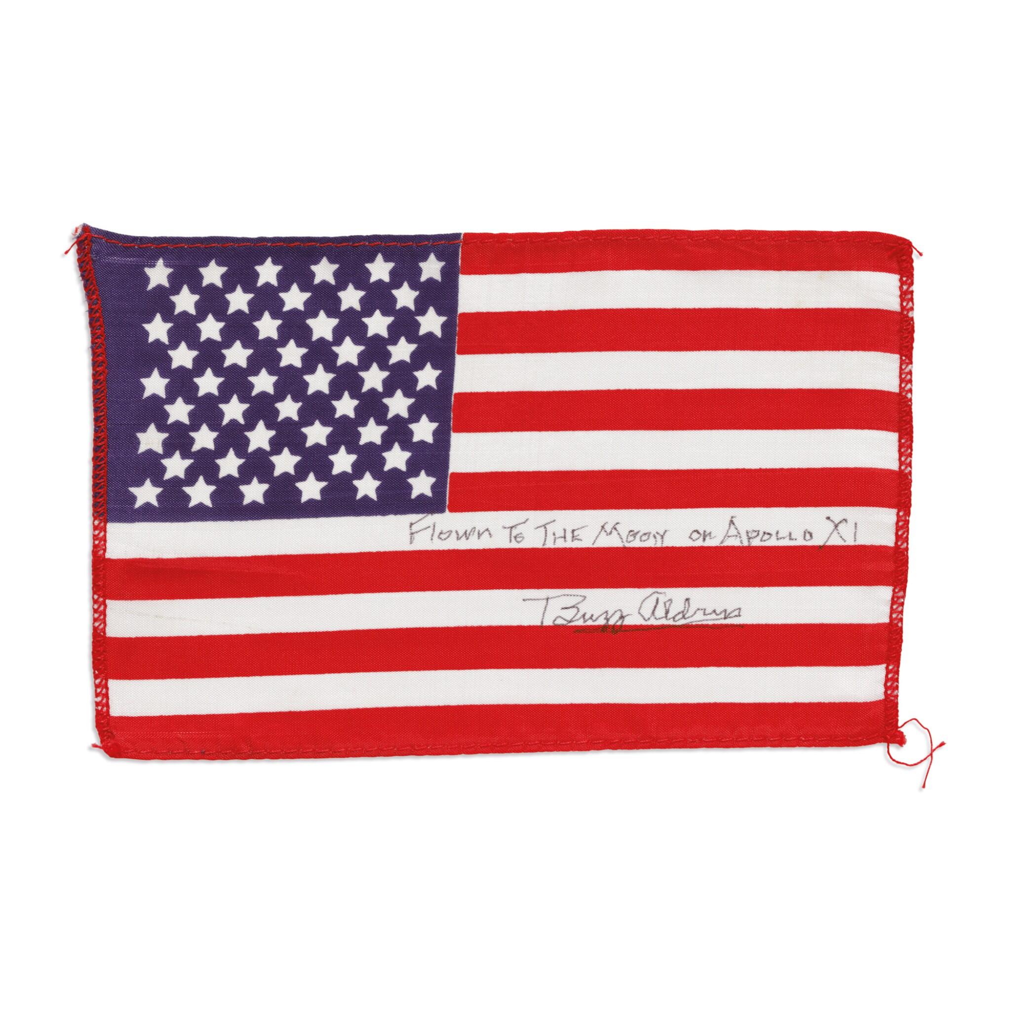 View full screen - View 1 of Lot 112. [APOLLO 11]. FLOWN TO THE MOON ON APOLLO 11, BUZZ ALDRIN'S UNITED STATES FLAG.