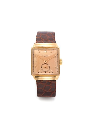PATEK PHILIPPE | A PINK GOLD SQUARE WRISTWATCH MADE IN 1939
