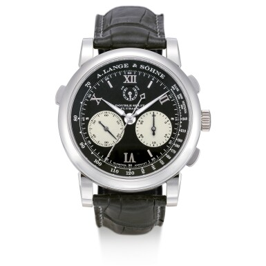 View 1. Thumbnail of Lot 55. A. LANGE & SÖHNE   SAXONIA DOUBLE SPLIT DATOGRAPH, REFERENCE 404.035F, A PLATINUM DOUBLE SPLIT CHRONOGRAPH WRISTWATCH WITH POWER RESERVE INDICATION AND HACKING DEAD SECONDS, CIRCA 2009.