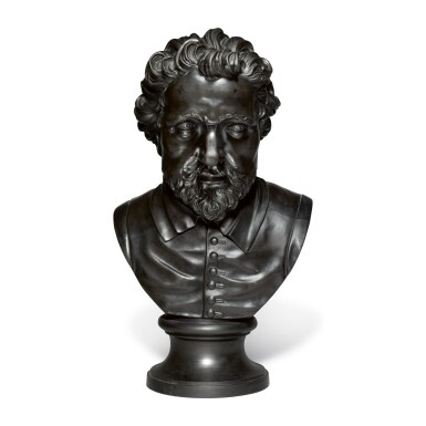 A WEDGWOOD AND BENTLEY LARGE BLACK BASALT BUST OFTHE POET AND PLAYWRIGHT BEN JOHNSON LATE 18TH CENTURY