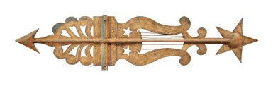 View 3. Thumbnail of Lot 321. American Sheet Metal Banner Weathervane, 19th century.