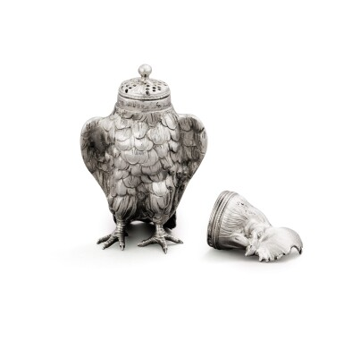 View 3. Thumbnail of Lot 10. A German silver novelty pepper in the form of a cockerel, Hanau, circa 1890, sponsor's mark of Berthold Muller, English import marked for London, 1896,.