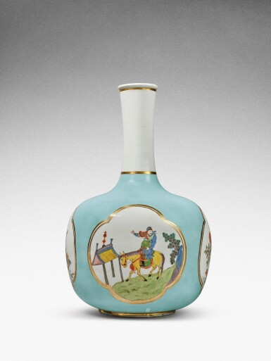 View 2. Thumbnail of Lot 35. A very rare Meissen Augustus Rex large seladon-ground bottle vase, Circa 1735 .