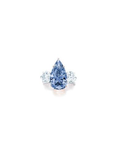 View 2. Thumbnail of Lot 1756. AN EXCEPTIONAL FANCY VIVID BLUE DIAMOND AND DIAMOND RING | 珍罕非凡 4.84卡拉 艷彩藍色 內部無瑕(IF)鑽石 配 鑽石 戒指.